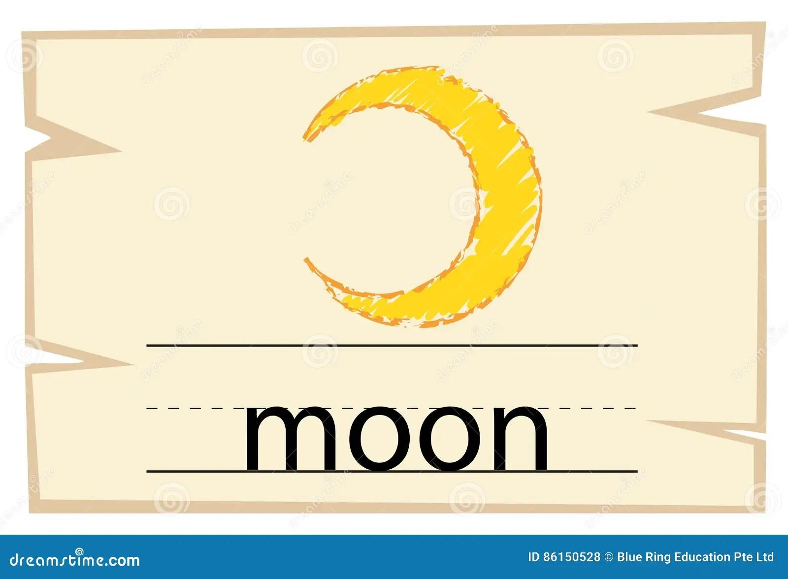 Flashcard Design For Word Moon Vector Illustration