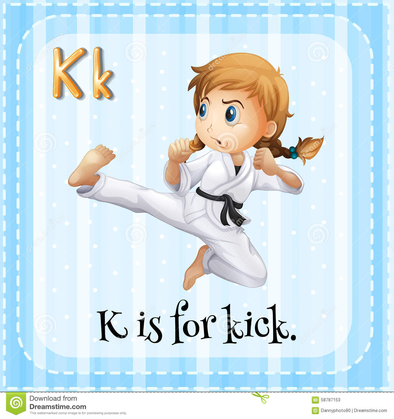 Letter K For Key Kick And Kookaburra Vector Illustration