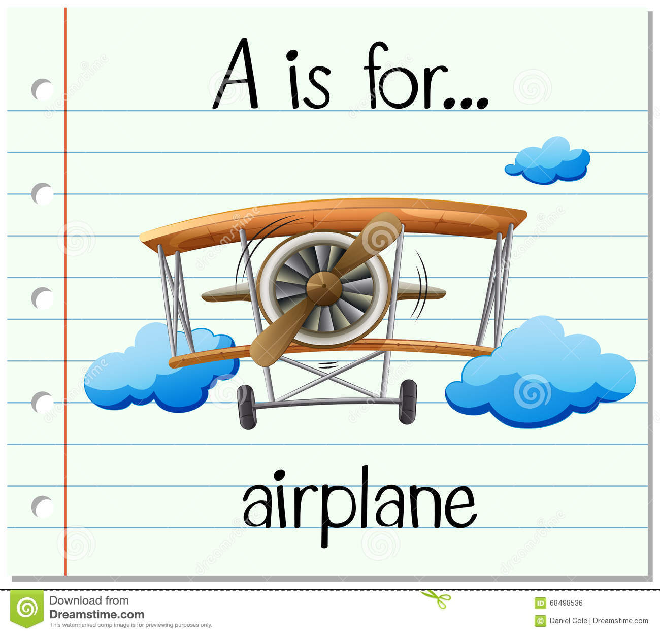 Flashcard Letter A Is For Airplane Stock Vector