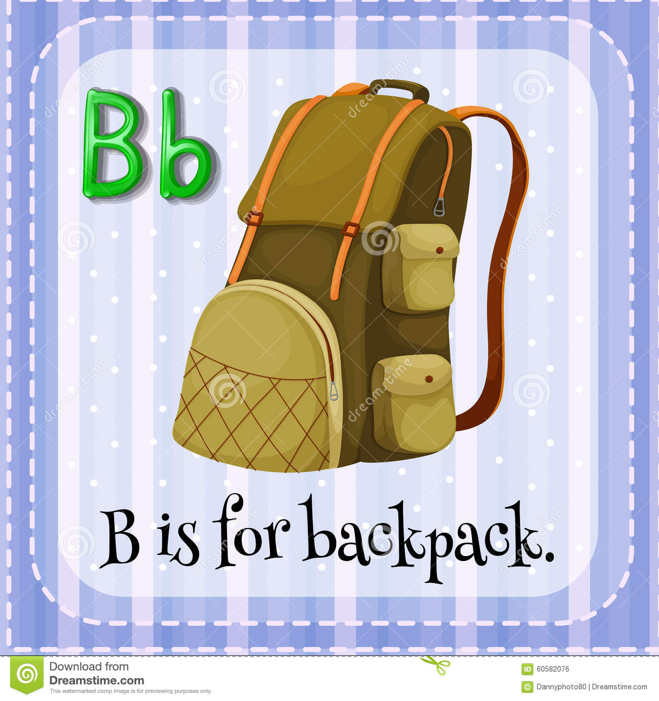 Flashcard Letter B Is For Backpack Stock Illustration
