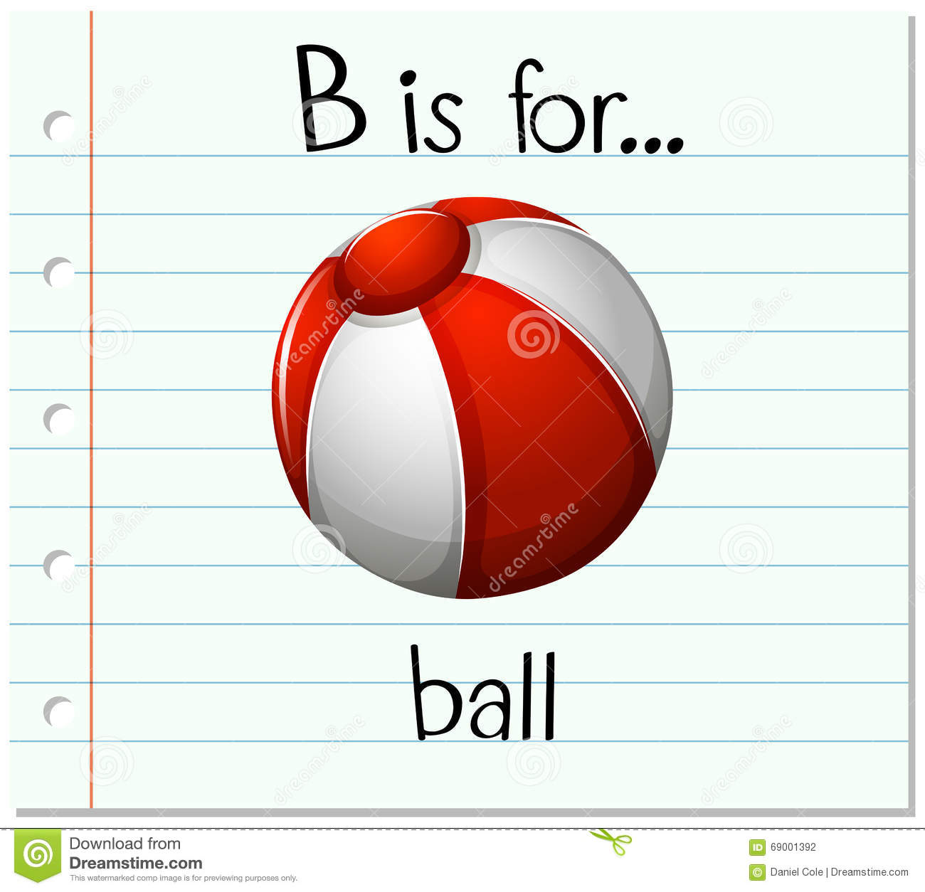 Flashcard Letter B Is For Ball Stock Vector