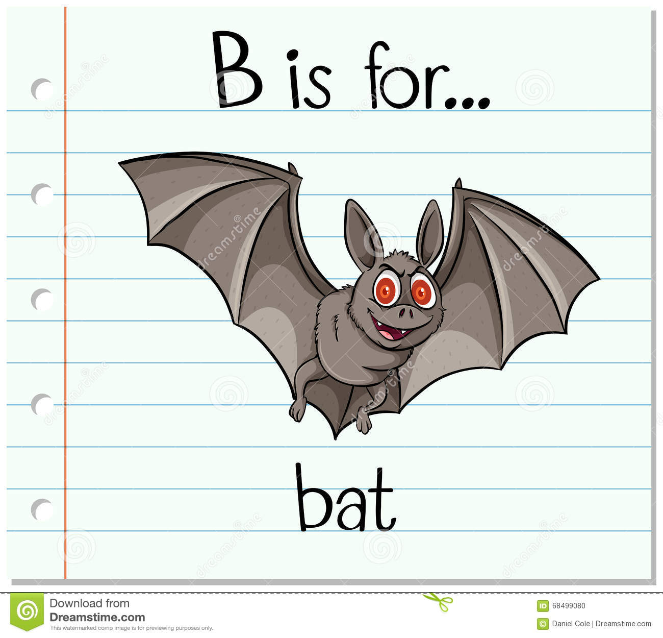 Flashcard Letter B Is For Bat Stock Vector