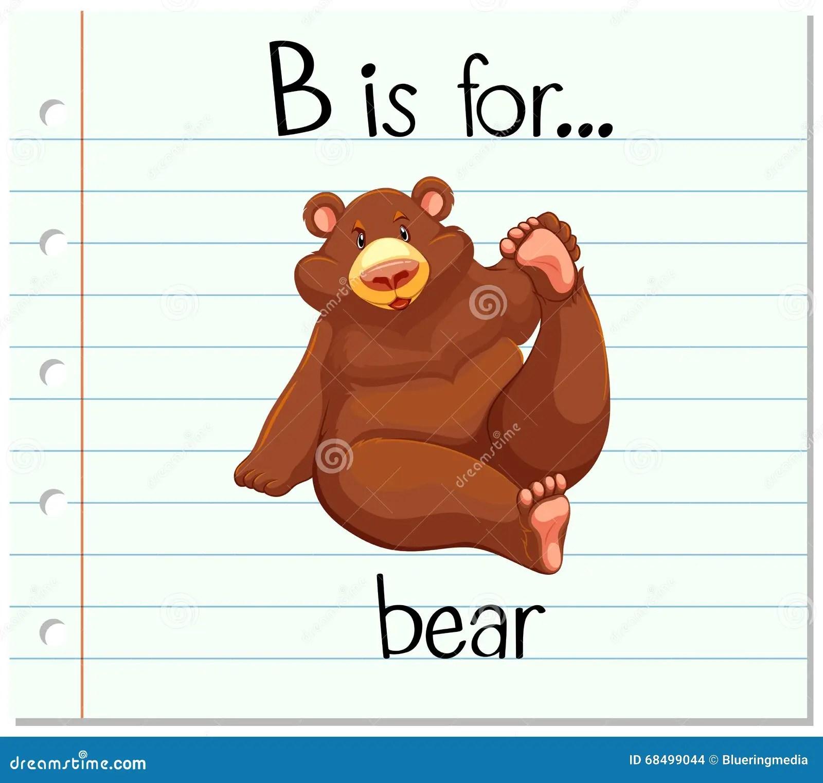 Flashcard Letter B Is For Bear Stock Vector