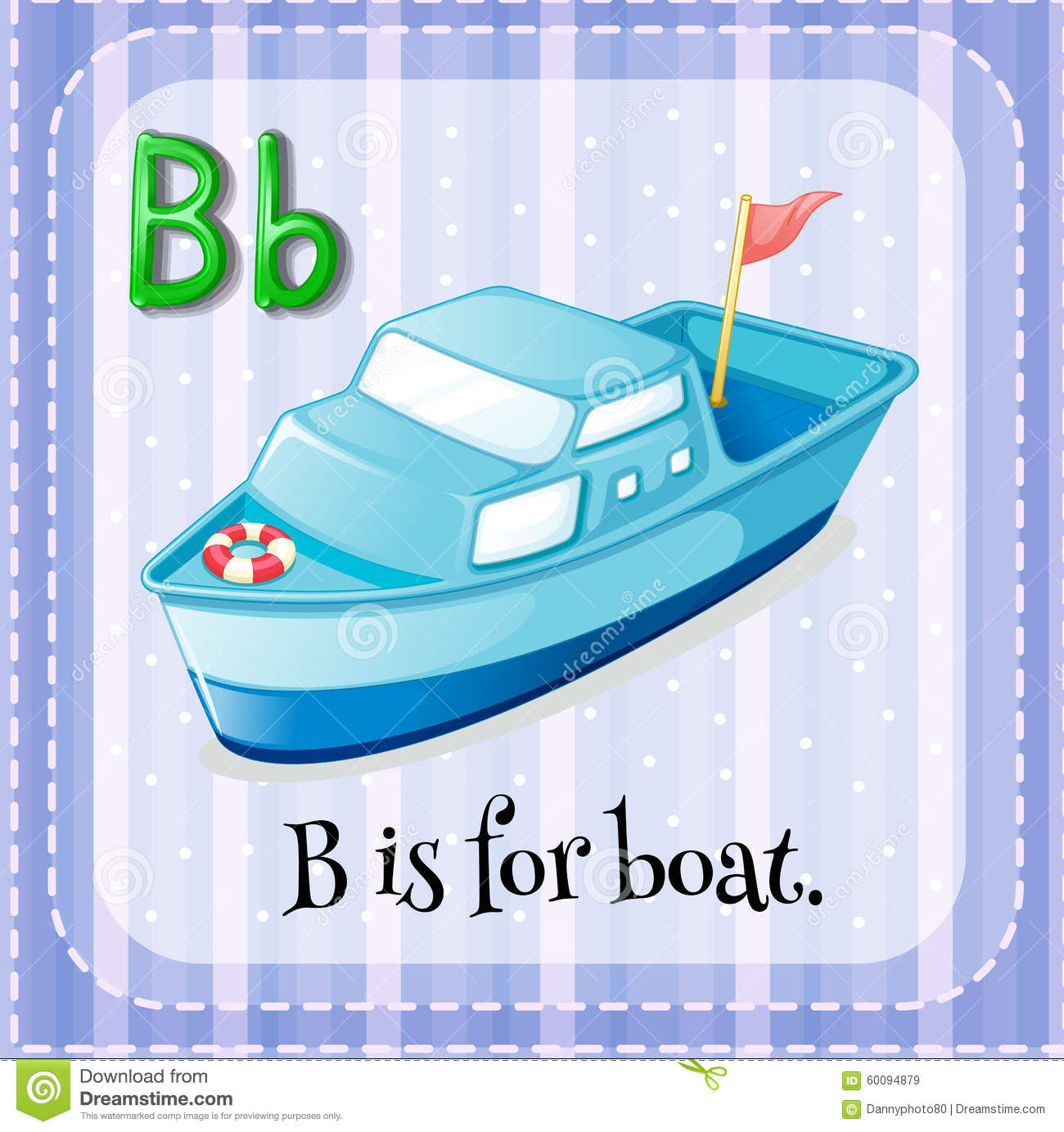 Flashcard Letter B Is For Boat Stock Vector