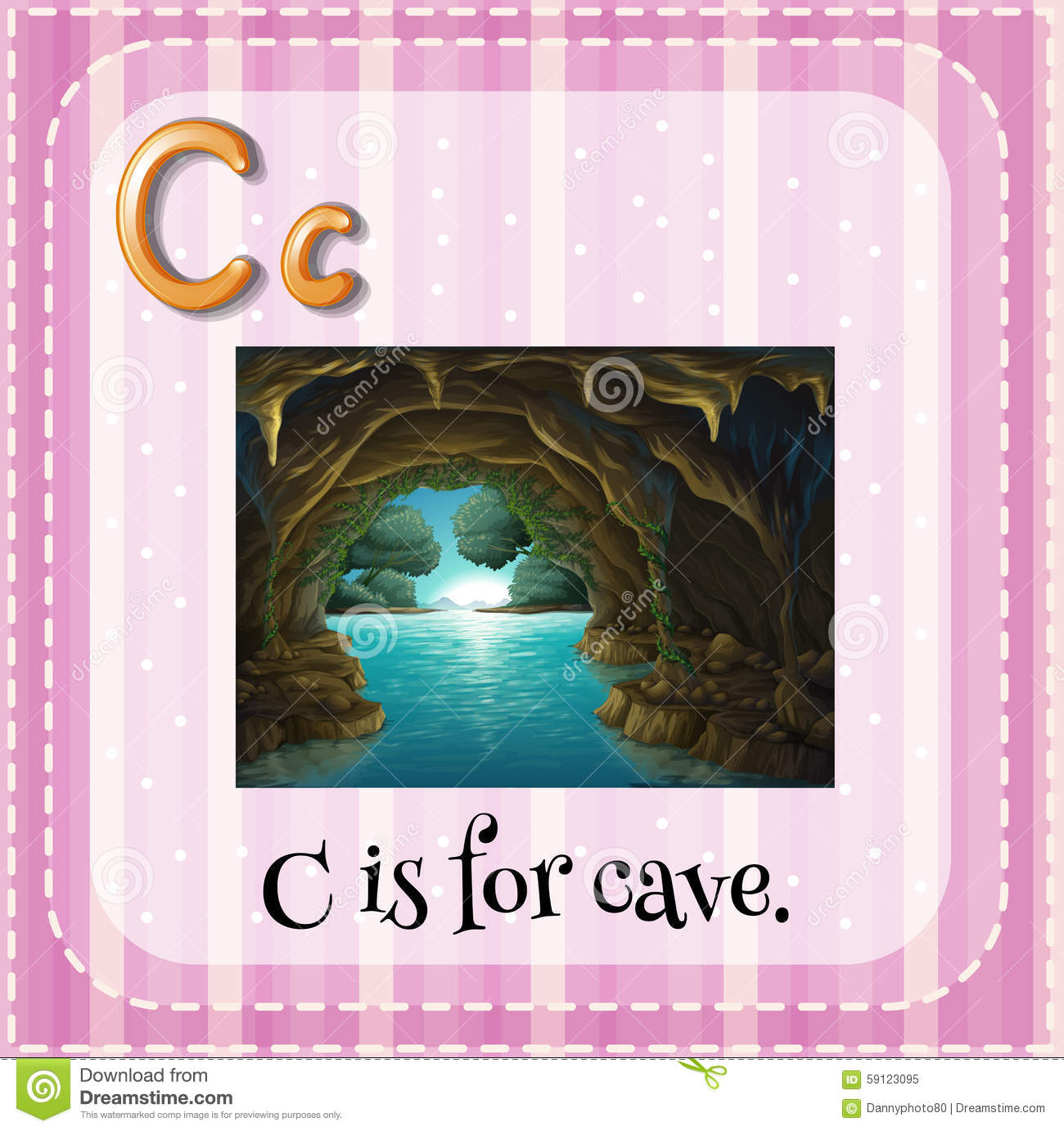 Flashcard Letter C Is For Cave Cartoon Vector