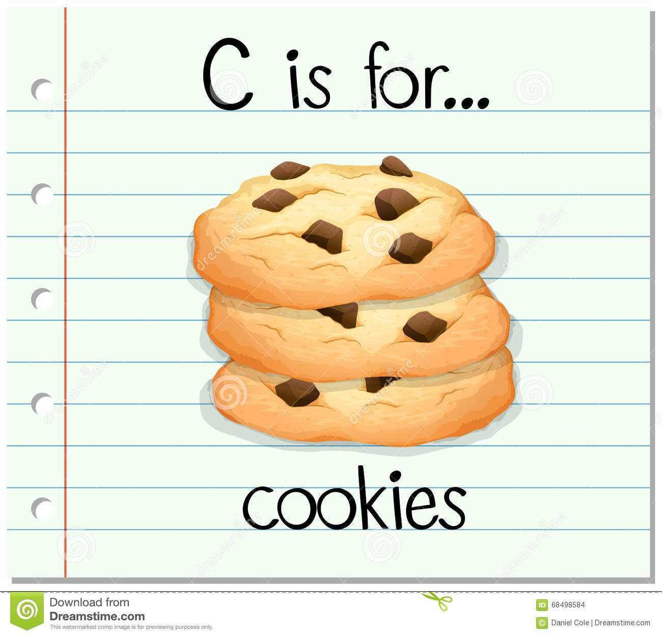 Flashcard Letter C Is For Cookies Stock Vector