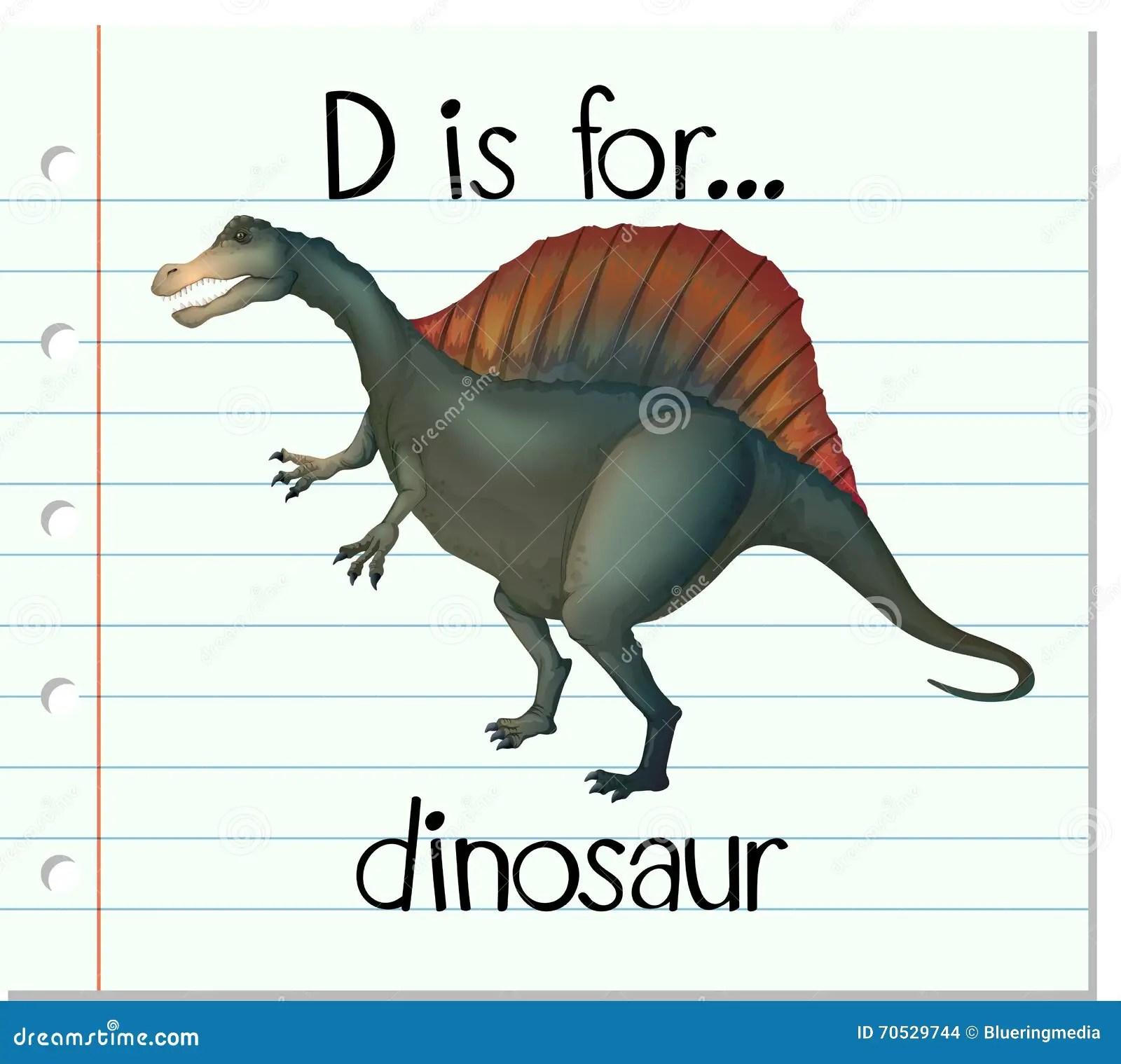 Flashcard Letter D Is For Dinosaur Stock Vector