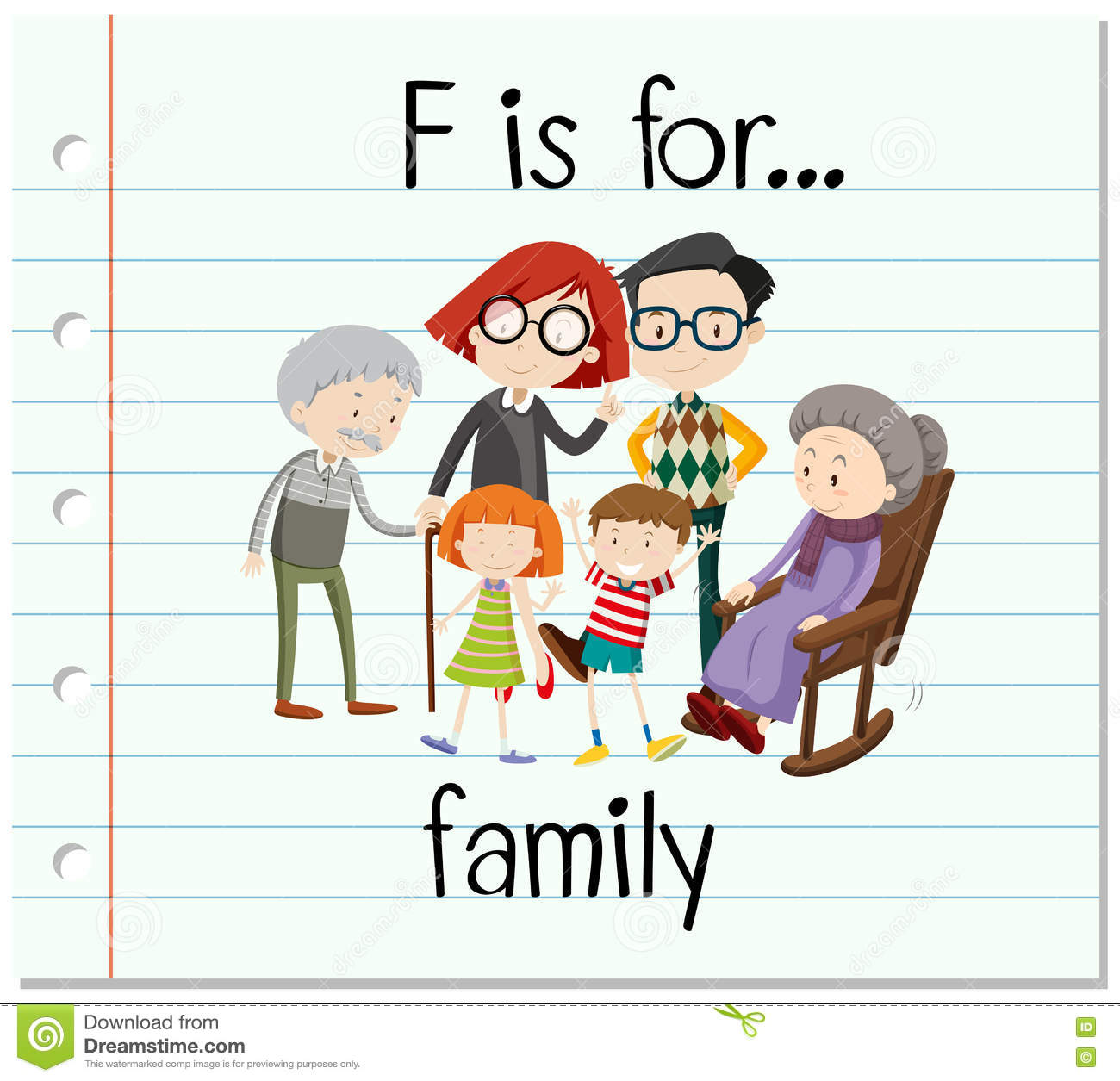 Flashcard Letter F Is For Family Stock Vector