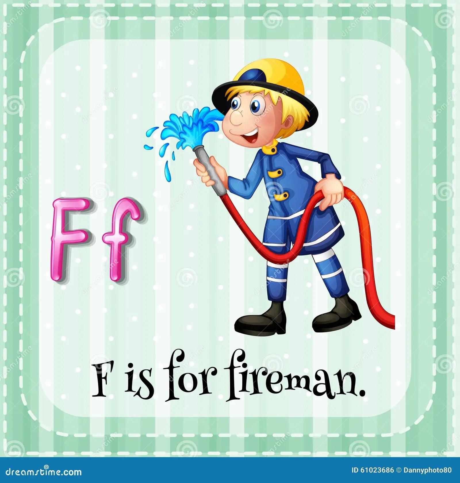 Flashcard Letter F Is For Fireman Stock Illustration