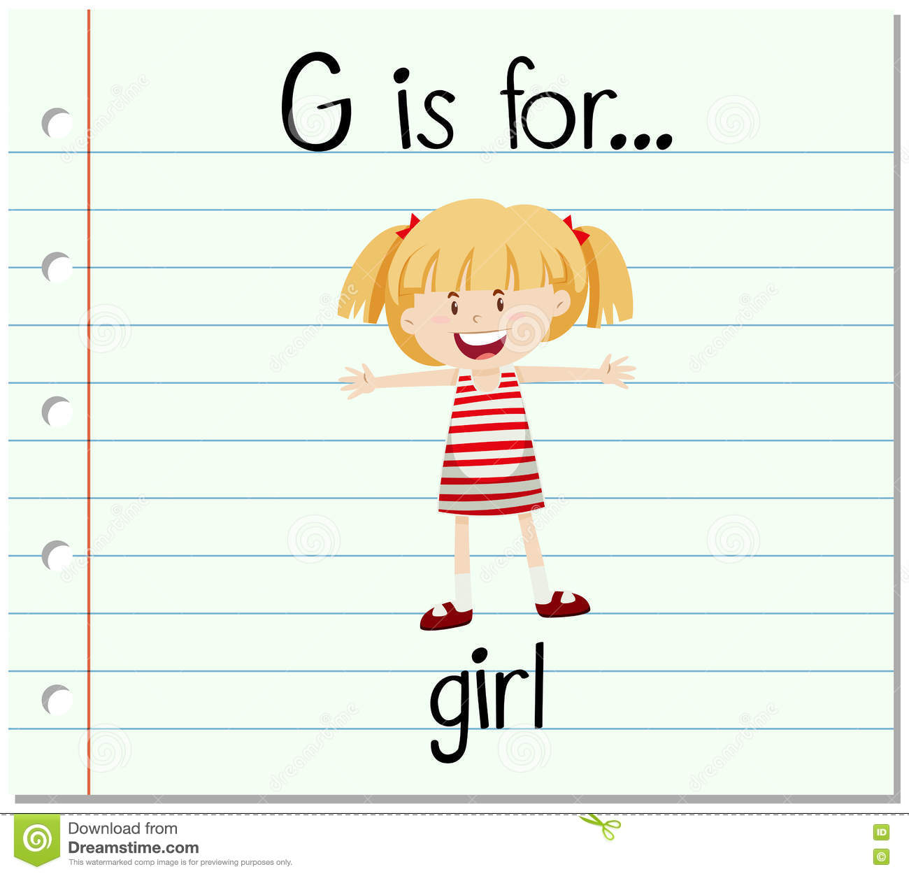 Flashcard Letter G Is For Girl Stock Vector
