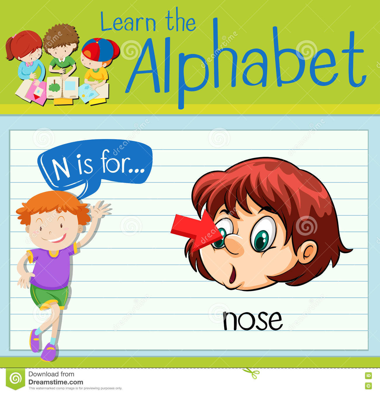hight resolution of flashcard letter n is for nose