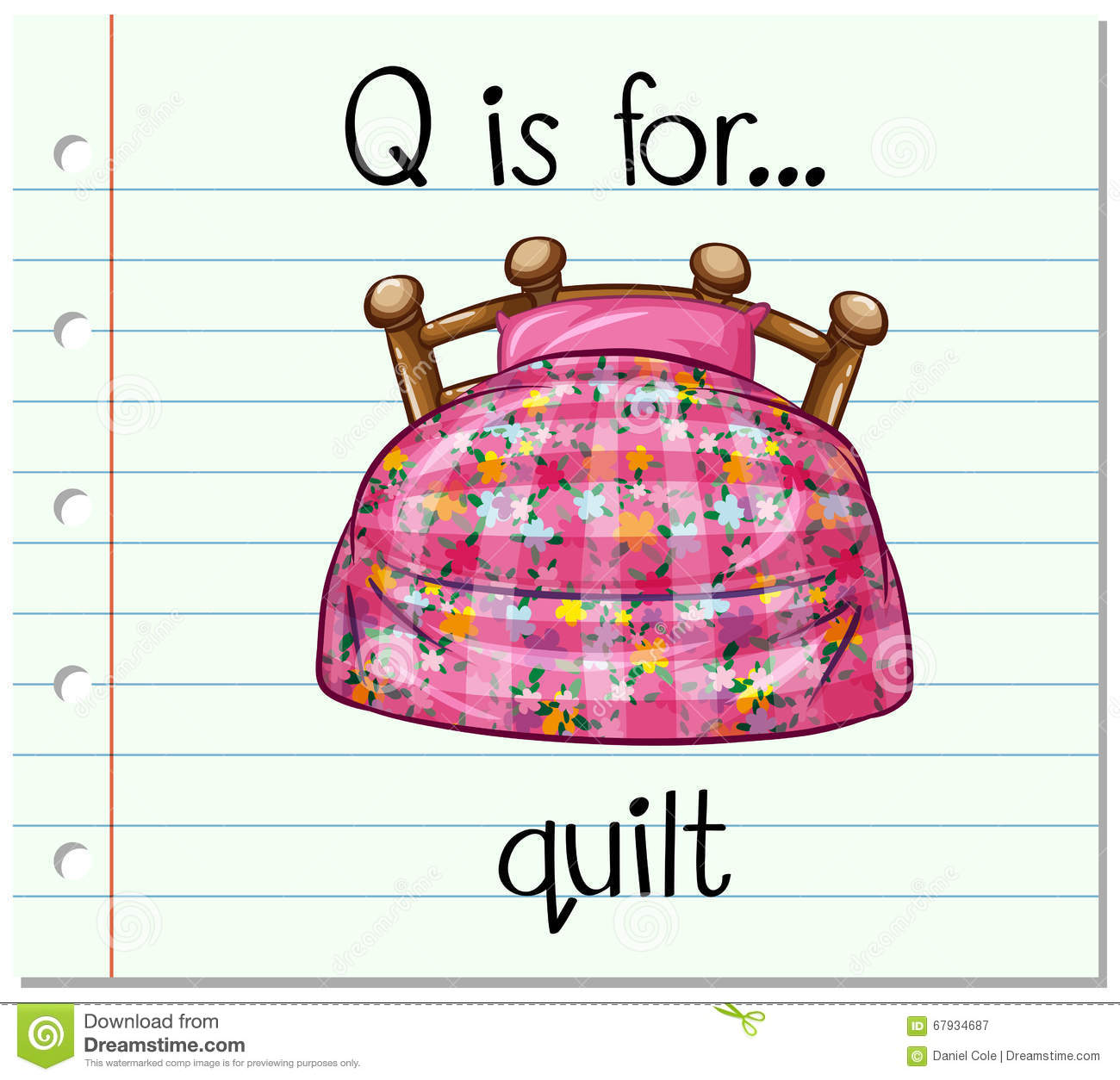 Flashcard Letter Q Is For Quilt Stock Vector
