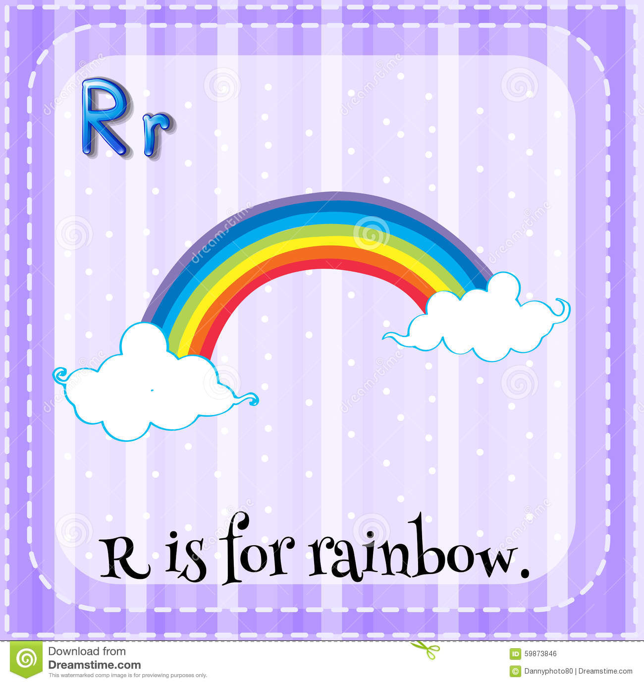 Flashcard Letter R Is For Rainbow Stock Illustration