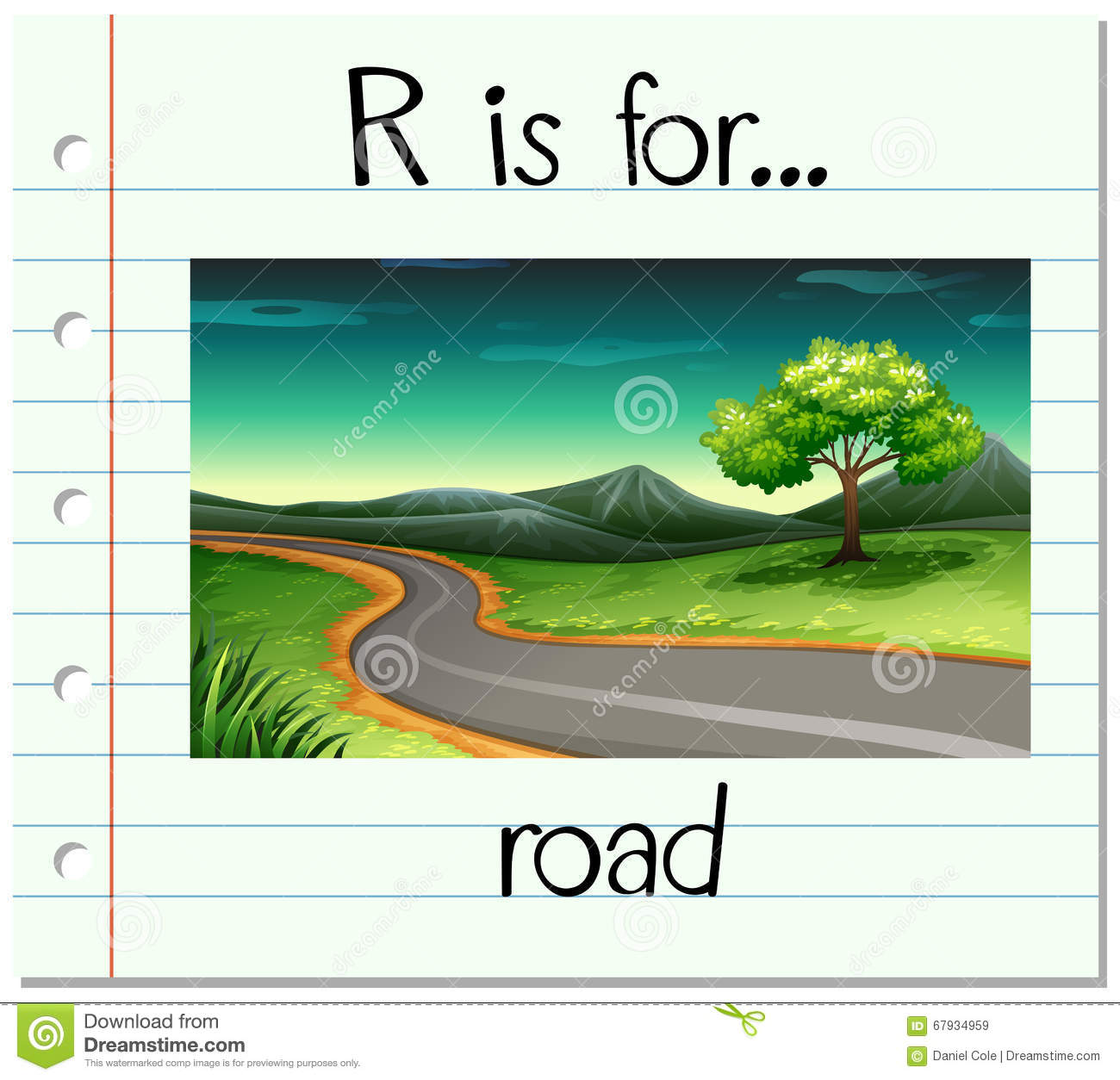 Flashcard Letter R Is For Road Stock Vector Illustration