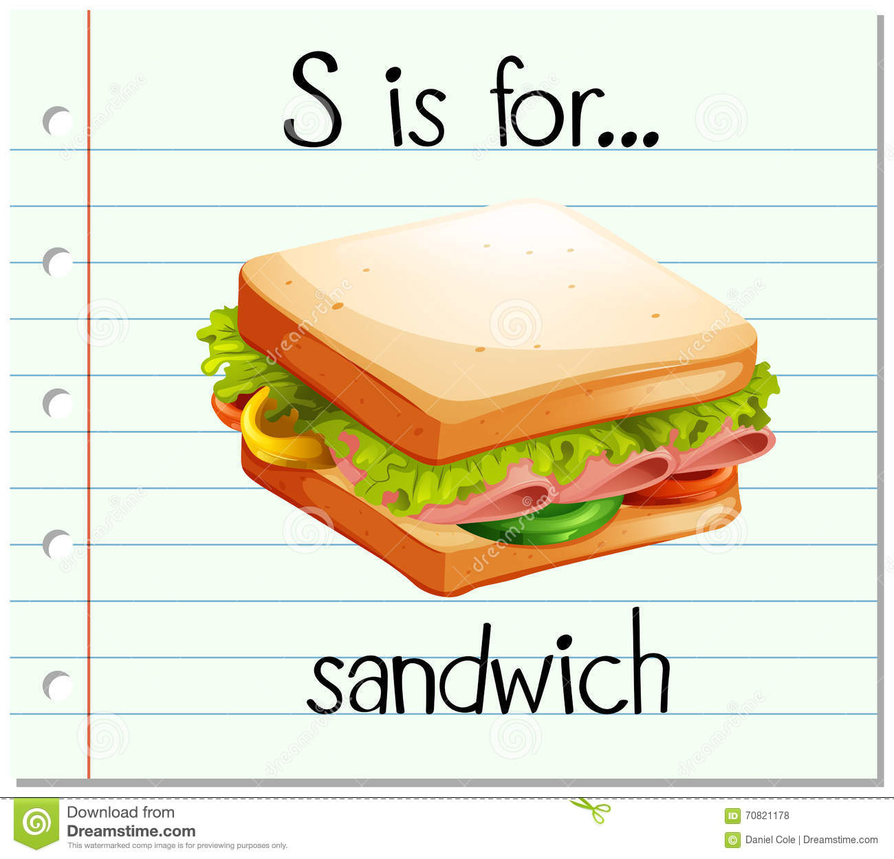 Flashcard Letter S Is For Sandwich Stock Vector