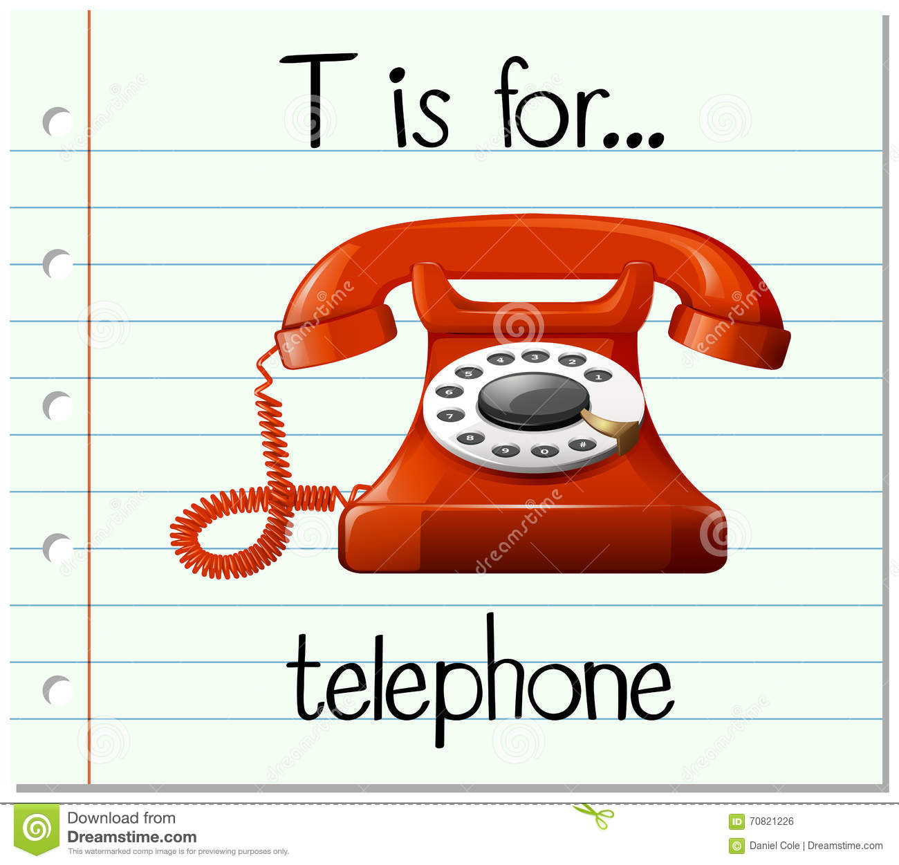 Flashcard Letter T Is For Telephone Stock Vector