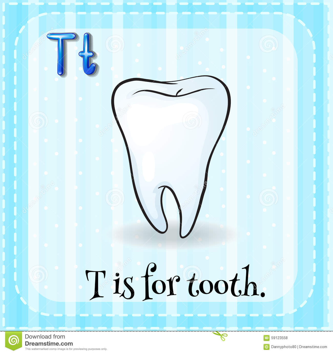 Flashcard Letter T Is For Tooth Stock Vector