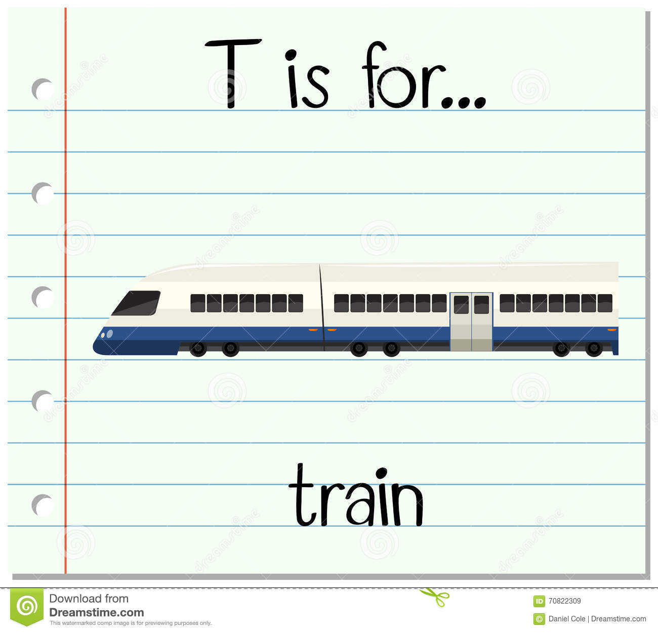 Flashcard Letter T Is For Train Stock Vector