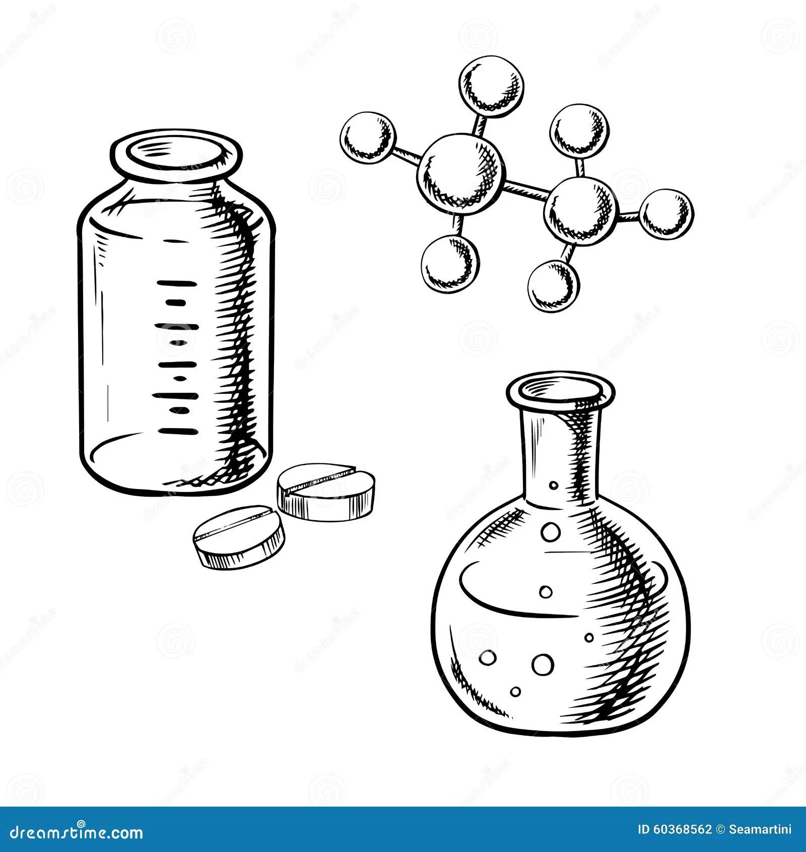 Flask, Bottle, Pills And Molecular Model Sketch Stock