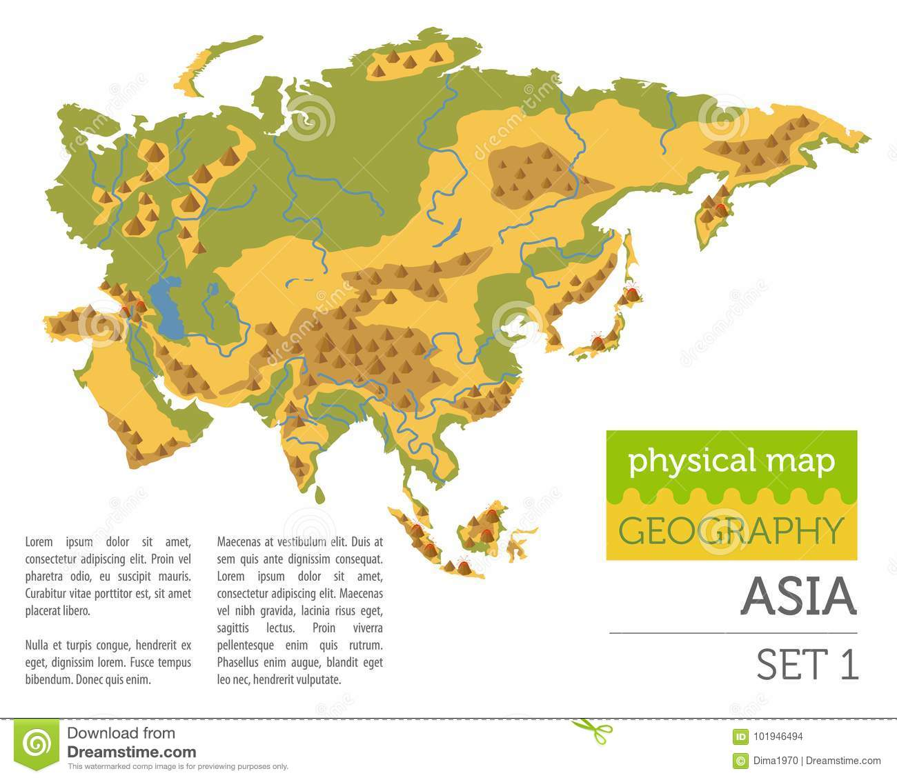 Flat Asia Physical Map Constructor Elements Isolated On