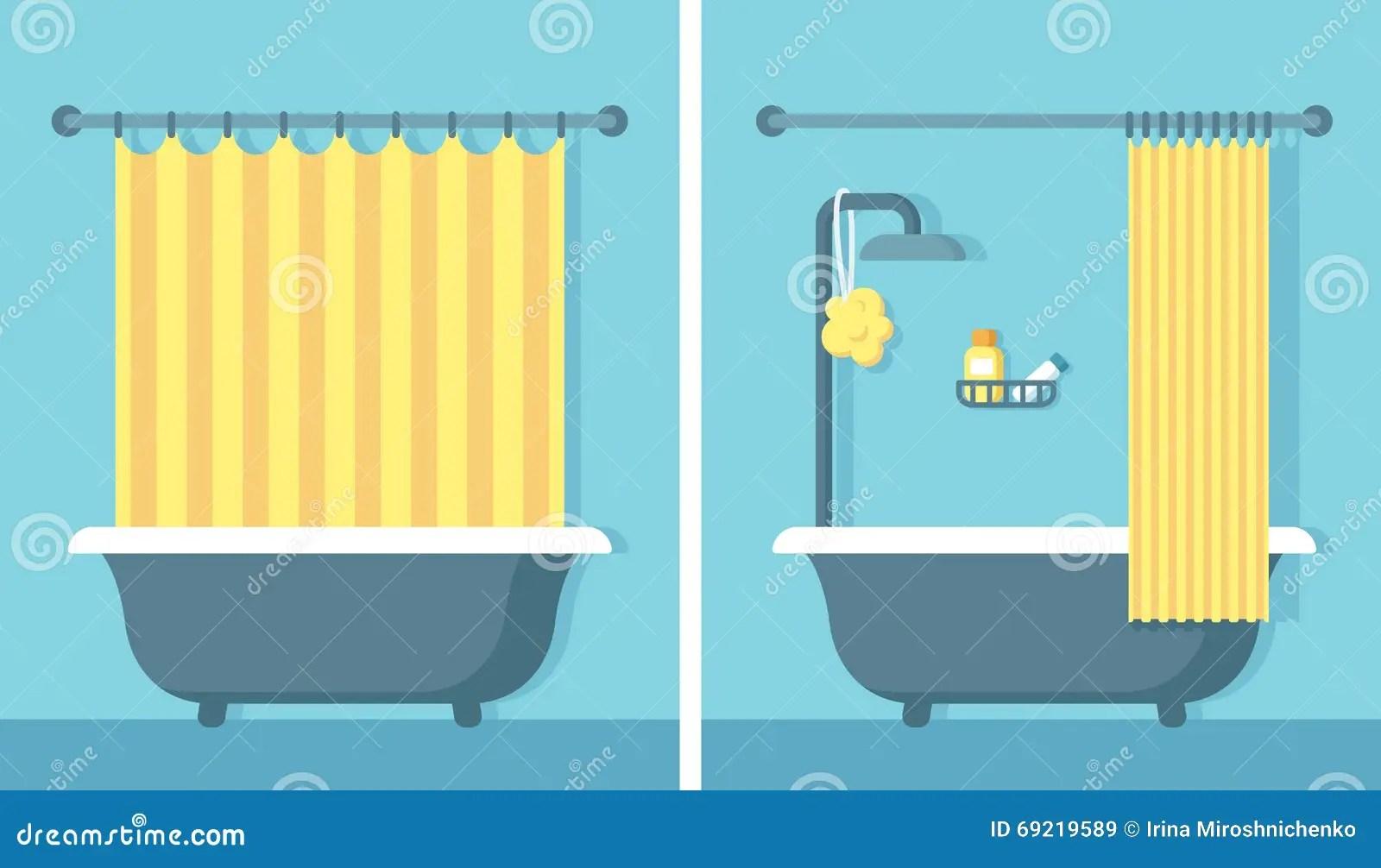 Flat Bathroom Interior Stock Vector Image 69219589