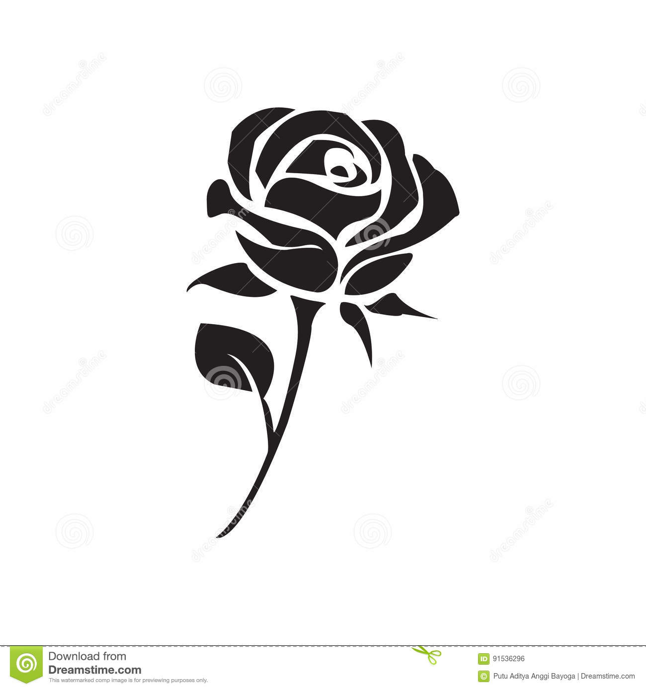 Flat Black Rose Icon Stock Vector Illustration Of Simple