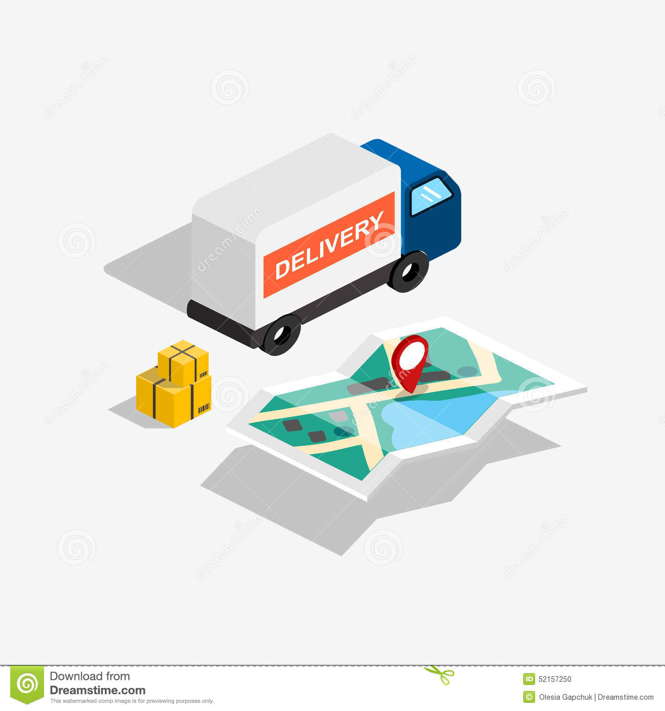 Flat 3d Isometric Delivery Car With Route Map And Boxes