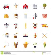 Flat Design Agriculture Icons Collection Stock Vector
