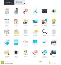 Flat Design Business Icons Graphic And Web Designers