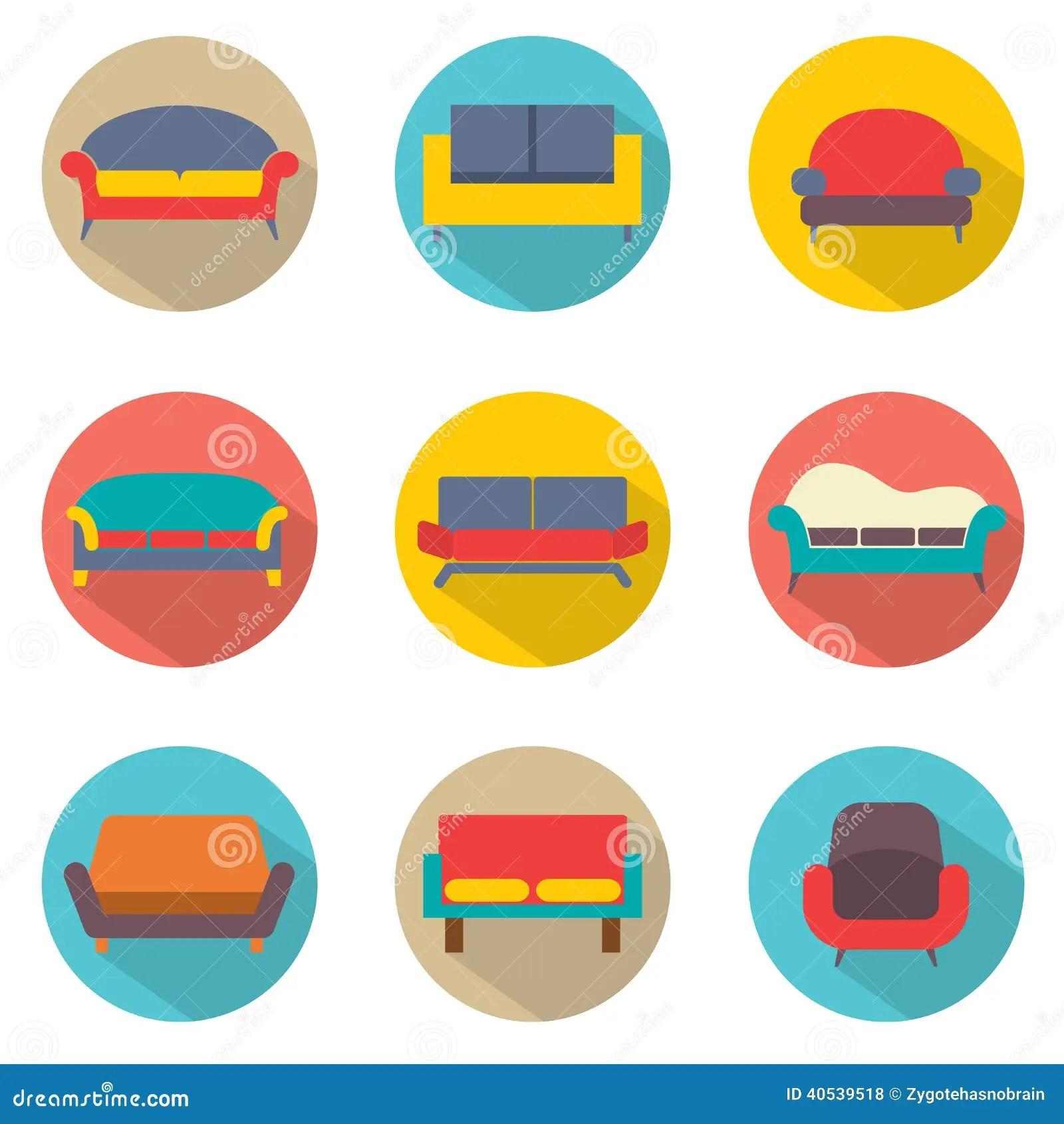 Flat Design Sofa Icons Stock Vector Image 40539518
