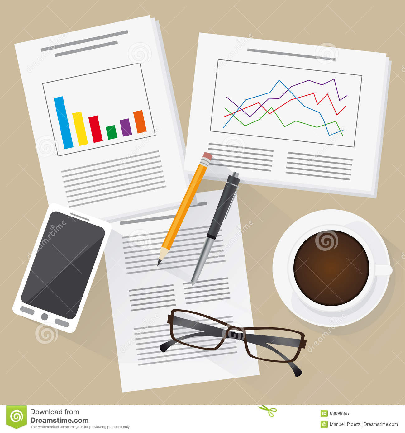 hight resolution of flat design work place with statistics info graphics mobile phone and cup of coffee