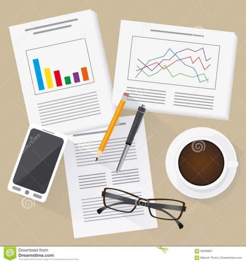 small resolution of flat design work place with statistics info graphics mobile phone and cup of coffee