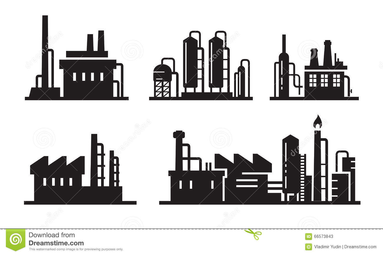 Flat Factory Icons Stock Vector Image Of Equipment Icon