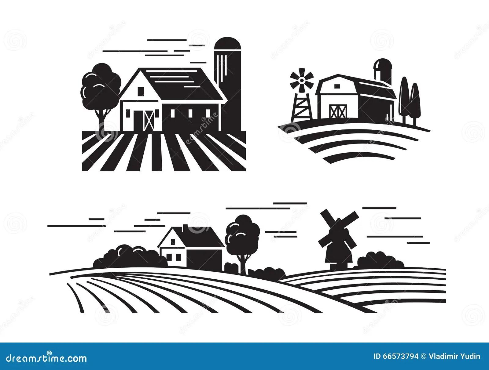 Flat Farm Icons Stock Vector Illustration Of Pictogram