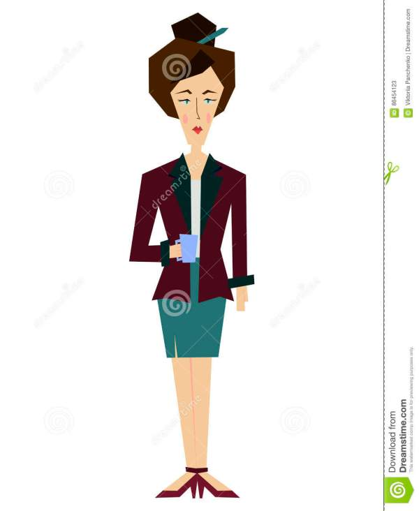 Flat Female Office Worker Secretary Librarian Business