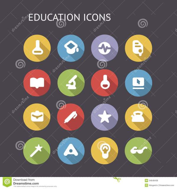 Flat Icons Education And Science Royalty Free Stock