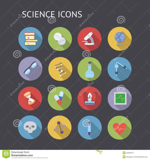 Flat Icons Education And Science Stock Vector