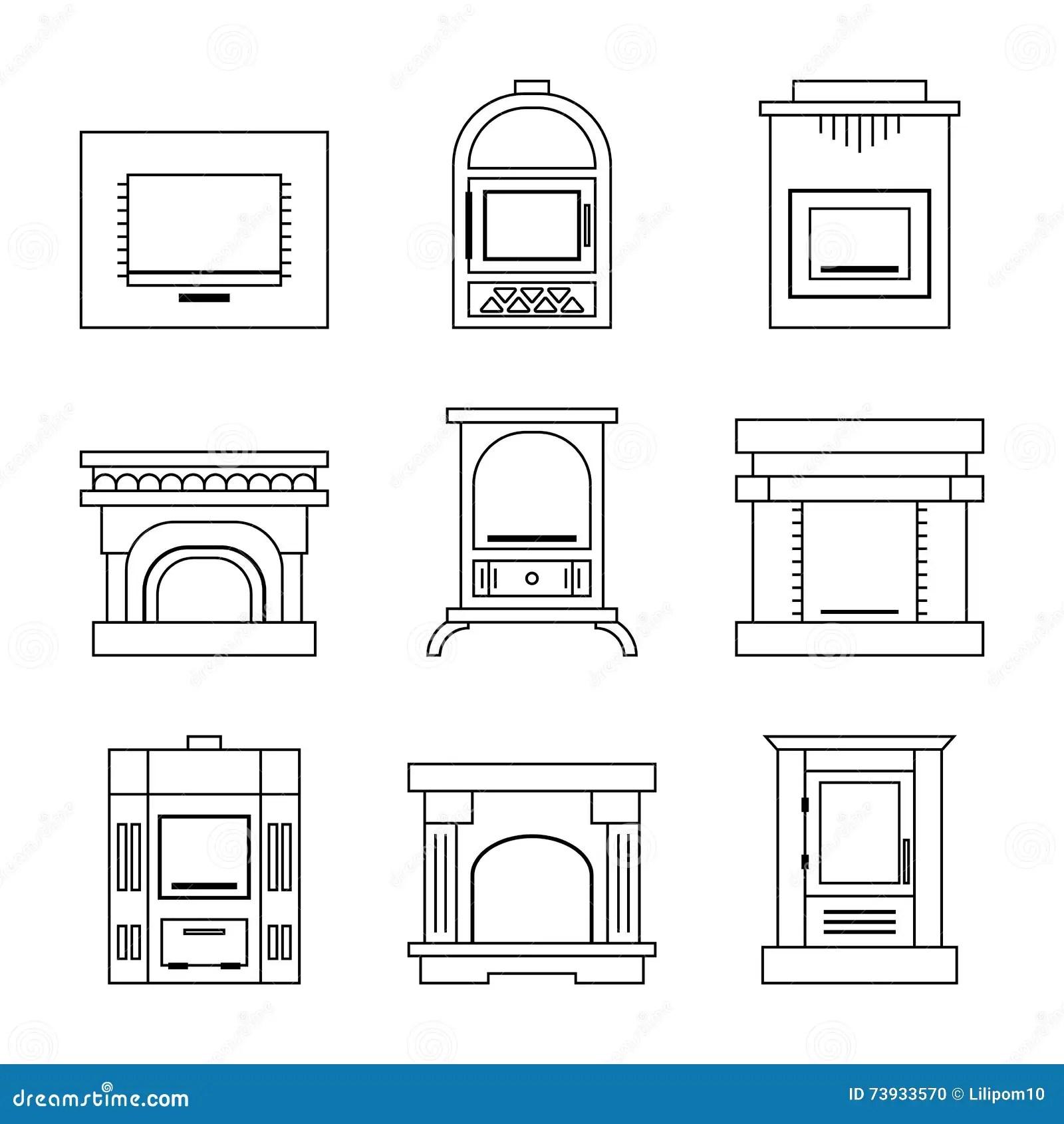 White Fireplace Isolated On White Background Stock Image