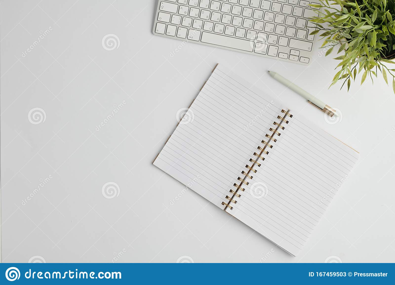 Flat Layout With Pen Computer Keypad Open Notebook With