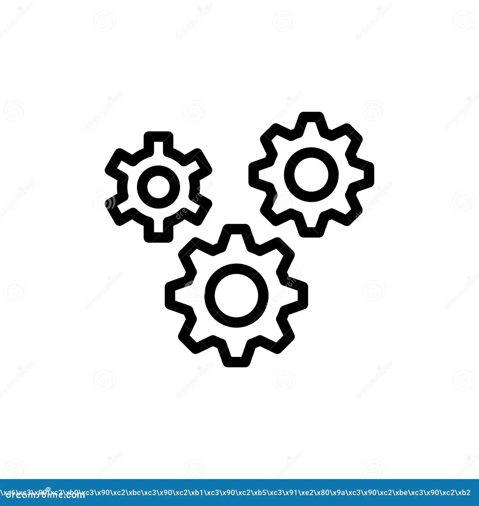 Flat Line Icon Stock Vector Illustration Of Cogwheel