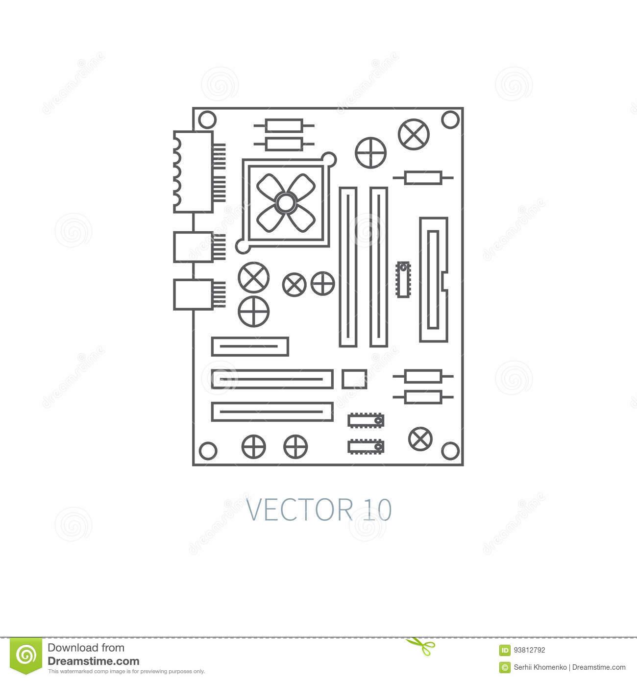 Flat Line Vector Computer Part Icon
