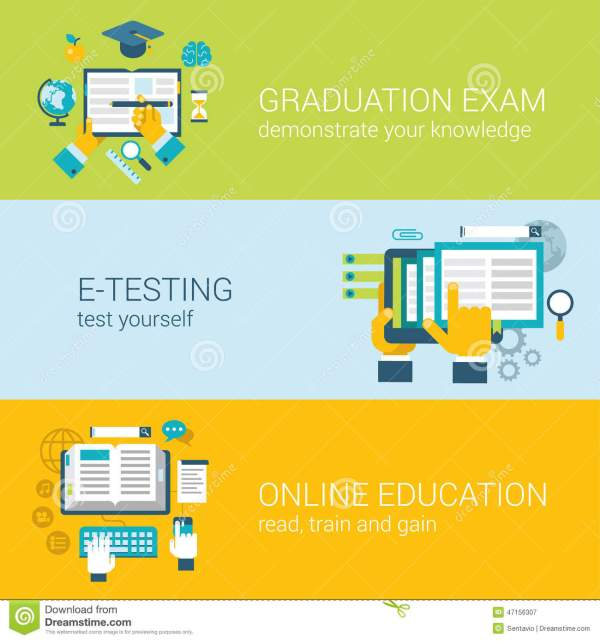Flat Online Education -learning Study Exam Infographic