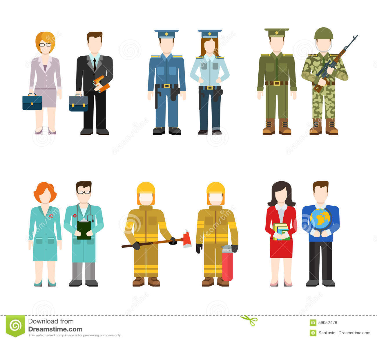 Flat Professions Uniform Army Police Doctor Fireman