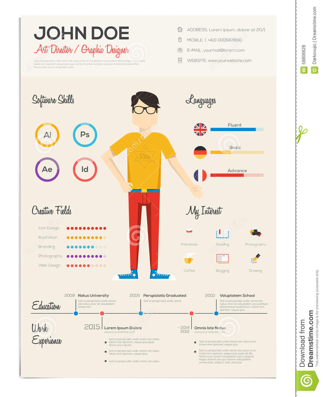 Flat Resume With Infographics Stock Vector Image 58806628