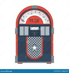 flat retro jukebox on white music device modern trendy design for music concept [ 1300 x 1390 Pixel ]