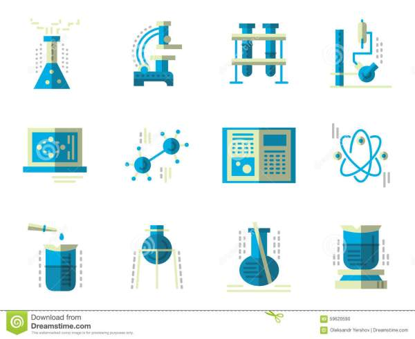 Flat Simple Icons Science. Chemistry Stock