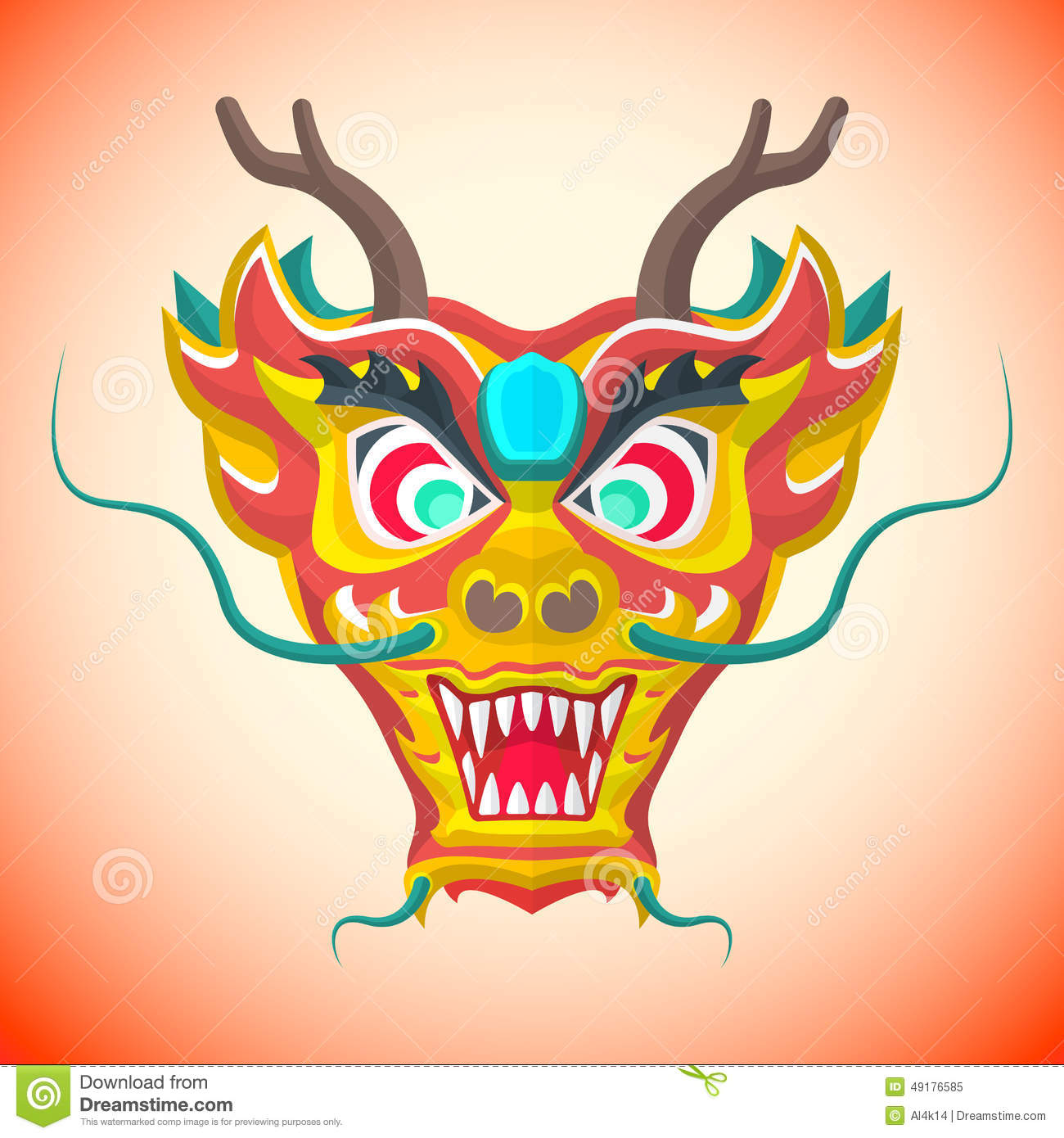 Flat Style Chinese Red Dragon Mask Stock Vector
