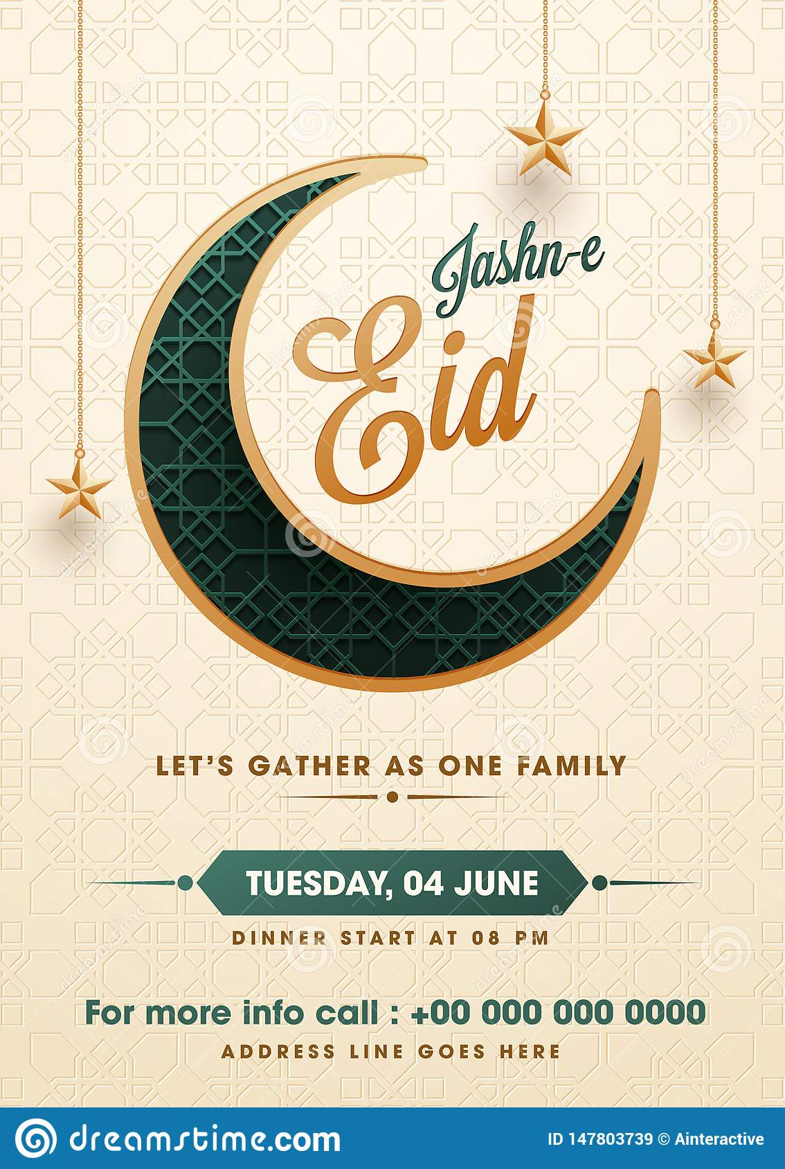 Flat Style Jasne Eid Party Invitation Card Design With