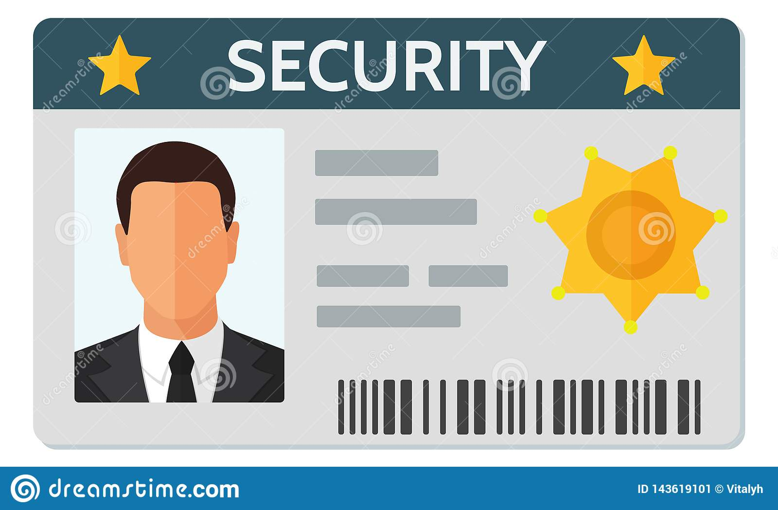 hight resolution of flat style vector illustration of security staff id card template