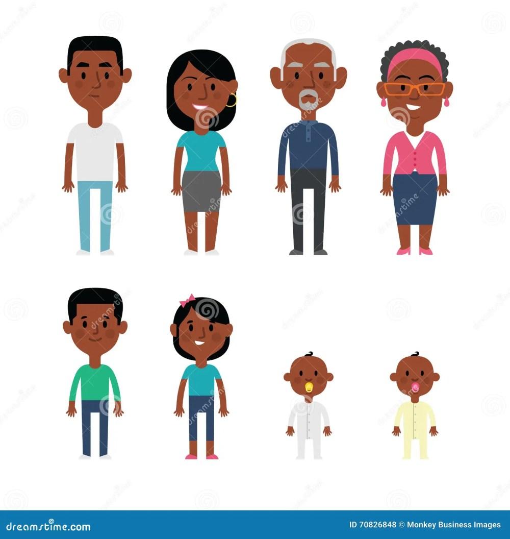 medium resolution of flat vector african american family members